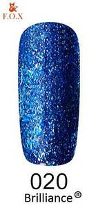 Гель-лак F. O. X. 6 мл Brilliance №020 яскраво сині блискітки
