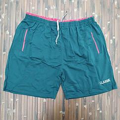 Трикотажные шорты батал х/б 62-70 зеленые МТ-140135