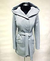 Модное укорочённое женское пальто с капюшоном из кашемира