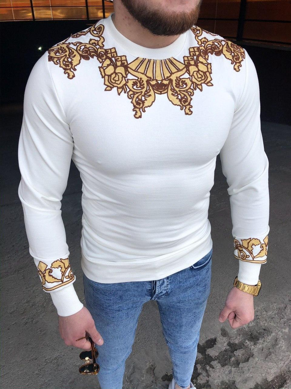 Чоловіча дизайнерська кофта біла із золотою вишивкою