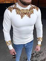 Чоловіча дизайнерська кофта біла із золотою вишивкою, фото 1