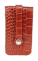 Удобная ключница из кожи под крокодила SHVIGEL 16145, Коричневый