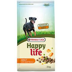 Сухой корм Happy Life Adult with Beef flavouring для собак всех пород с говядиной 3 кг
