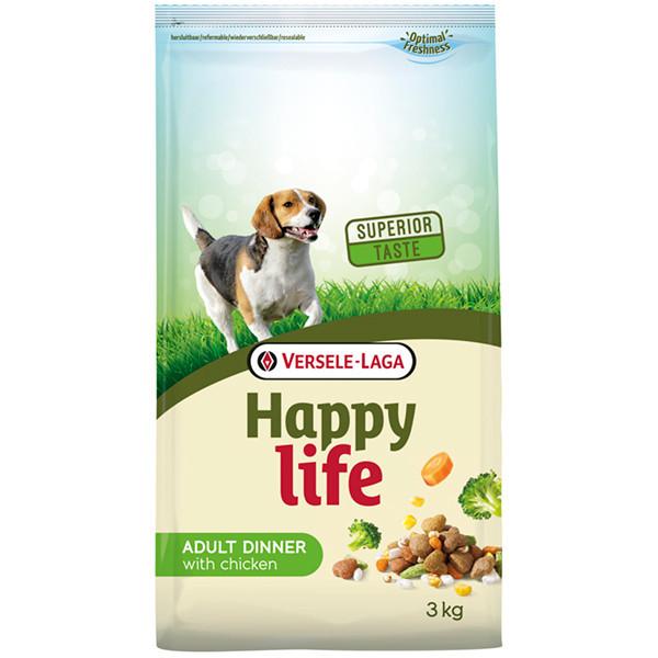 Сухой корм Happy Life Adult Dinner with Chicken для собак всех пород с курицей и овощами 15 кг