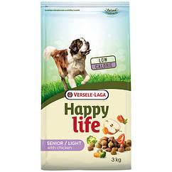 Сухой корм Happy Life Senior Light with Chicken для пожилых собак с лишним весом, курица 3 кг