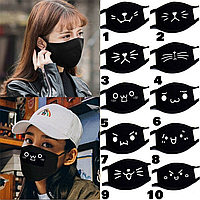 Маска на лицо тканевая чёрная защитная многоразовая разные мордочки K-pop 002