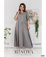 Женское длинное летнее платье с капюшоном в клетку больших размеров 50-64