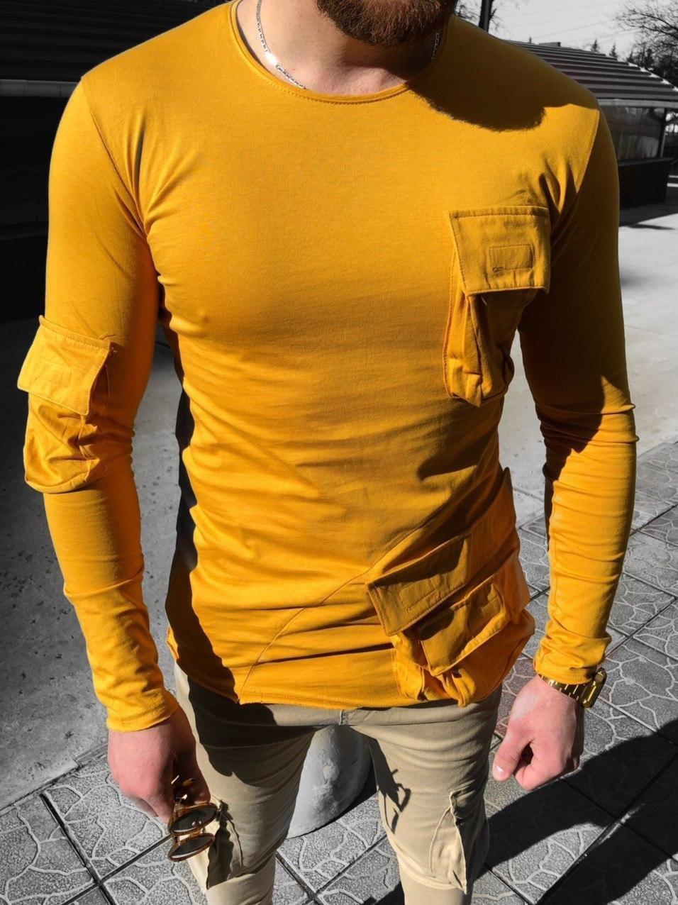 Чоловічий лонгслив з кишенями жовтий