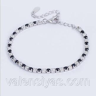 Серебряный браслет с белыми и черными фианитами, фото 2