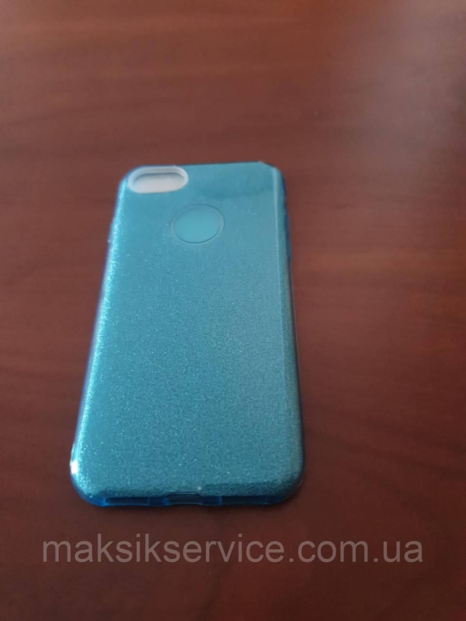 Чехол Накладка на Iphone 7/8 бирюзовий с блестками