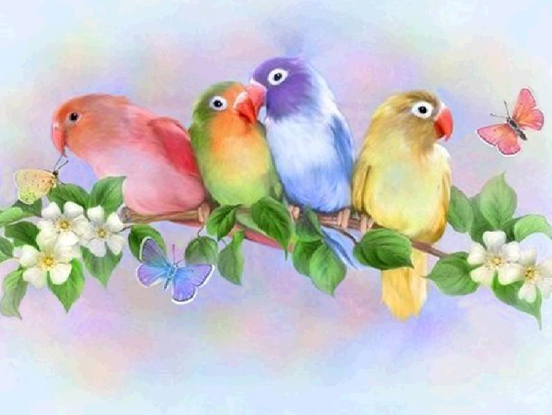 Алмазная мозаика Целующиеся попугаи 40x30см DM-202 Полная зашивка. Набор алмазной вышивки
