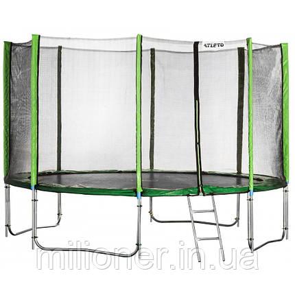 Батут Atleto 435 см с двойными ногами с сеткой зеленый (3 места) , фото 2
