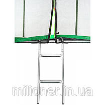 Батут Atleto 435 см с двойными ногами с сеткой зеленый (3 места) , фото 3