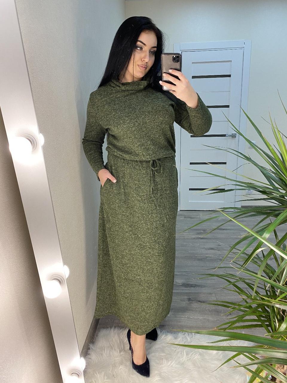 Платье  БАТАЛ ангора в пол в расцветках 04д41113