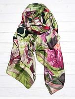 Шелковый шарф Краски, 190*100 см, зеленый