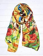Шелковый шарф Краски, 190*100 см, желтый