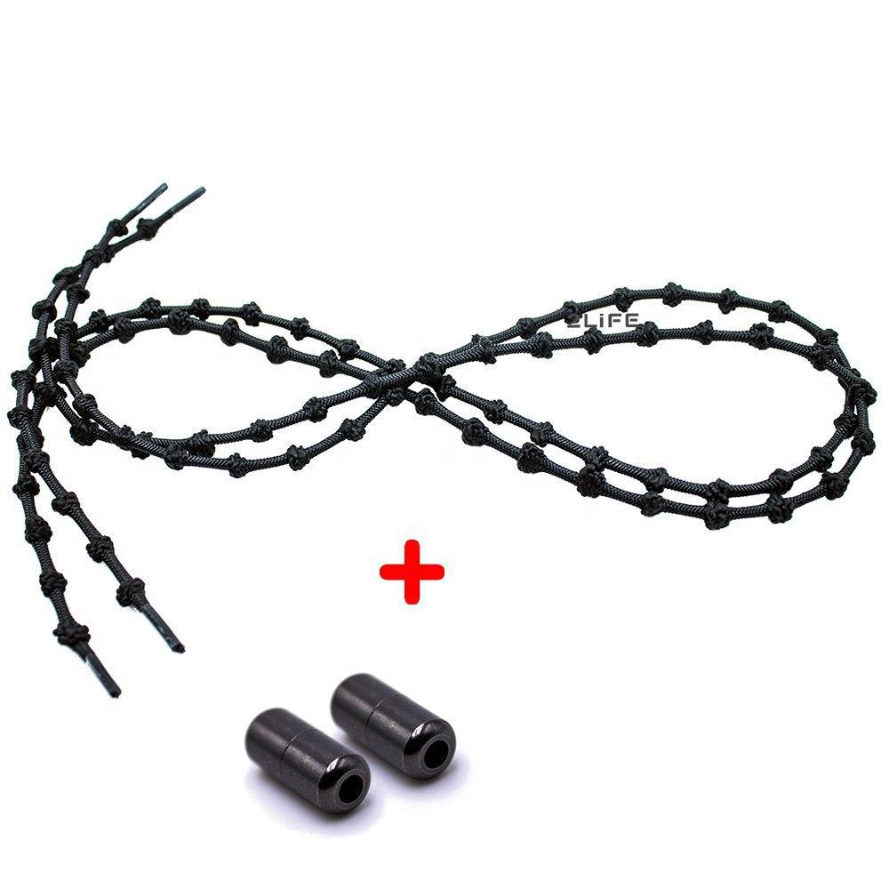 Шнурки для обуви с узелками эластичные с металлическими фиксаторами концов шнурка 2Life Черный (n-503)