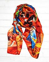 Шелковый шарф Краски, 190*100 см, оранжевый