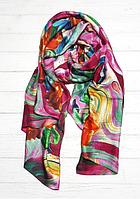 Шелковый шарф Fashion Краски 190*100 см малиновый