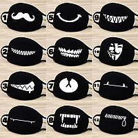 Маска на лицо тканевая чёрная защитная многоразовая зубы, улыбка, усы, Гай Фокс, молния, медведь K-pop 005