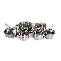 Набор кухонной посуды из нержавейки Supretto, 12 предметов, кастрюли из нержавеющей стали, Наборы кухонной посуды, кастрюли