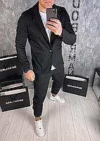 Мужской классический черный костюм