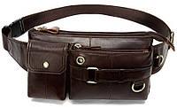 Поясная cумка мужская Vintage 14897 Коричневая, Коричневый