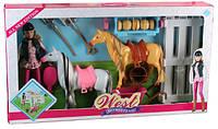 Лошадь, 2шт., с куклой, заборчик, расческа, поилка, сено, вилы, лопата, MZT8984