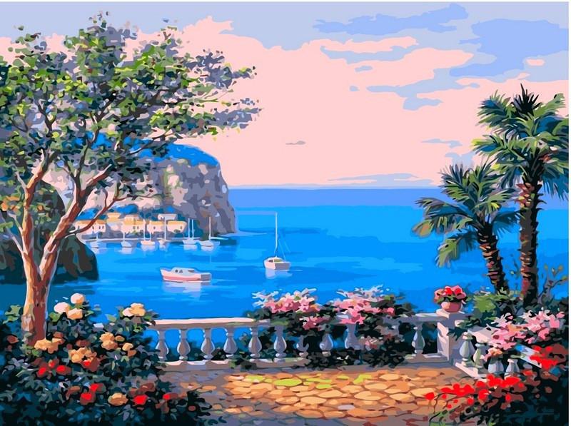 Картина по номерам Коста-дель-Соль. Худ. Ким Сунг, 40х50 см., Babylon VP013 Городской пейзаж, дома