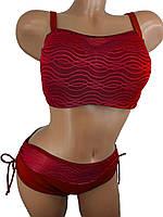 Купальник с майкой на большую грудь и узкие бедраSisianna 3916 красный 44 46  размер