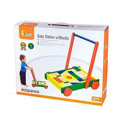 "Ходунки-каталка Viga Toys ""Візок з кубиками"" (50306)"