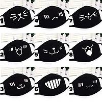 Маска на лицо тканевая чёрная защитная многоразовая аниме мордашки, котики, зубы, весёлые рожицы K-pop 006