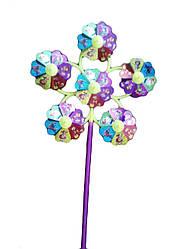 Ветрячок, 10шт/упак., 6 цветочков голограмма, YW0027