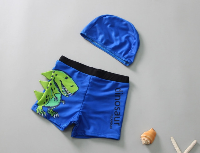 Детские шорты плавки и шапочка, Динозавр