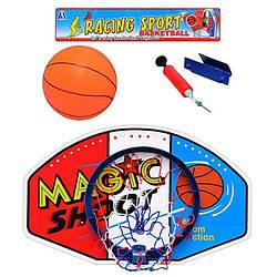 Баскетбольное кольцо, щит пластиковый 59-38см, мяч резиновый, насос, M1076