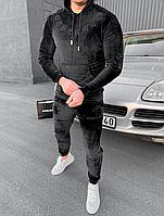 Мужской весенний черный велюровый спортивный костюм с надписью Доберман