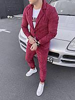 Мужской вельветовый классический бордовый костюм
