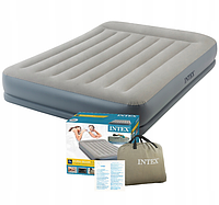 Надувная двухспальная кровать Intex со встроенным насосом 220 V (152*203*30 см)