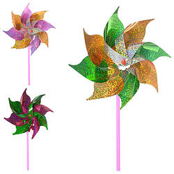Ветрячок вертушка, размер маленький, диаметр 19,5см, палочка 26см, 3 цвета, M6061