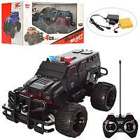 Джип радиоуправляемый, аккумуляторы, полиция, 26,5см, свет, резиновые колеса, (надувные), 2 цвета, 666-640A