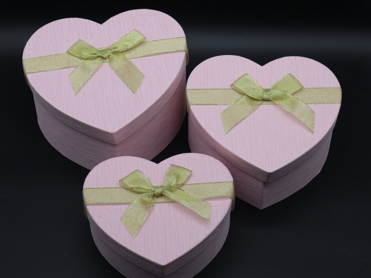 Коробка подарочная сердце. 3шт/комплект. Цвет розовый. 21х9см