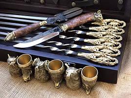 """Ексклюзивний набір для шашлику """"Кабан"""", шампура+чарки+ніж+вилка"""