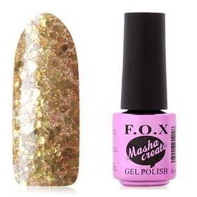 Гель-лак F.O.X. 6 мл Masha Create №914  на прозрачной подложке, с крупными и мелкими золотыми блестками