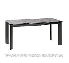 Стол раскладной Vermont Iron Grey (Вермонт Айрон Грей) 120-170см, глазурованное стекло серый, Concepto