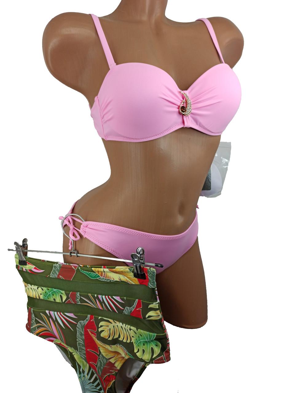 Купальник бандо с высокой талией и плавками на завязках Sisianna 91009 розовый 42 44 46 48 50 размер