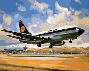 Картина рисование по номерам Babylon Боинг 737 Люфтганза 40х50см VP828 набор для росписи, краски, кисти, холст