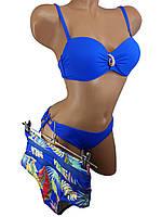 Купальник бандо с высокой талией и плавками на завязках Sisianna 91009 ярко-синий 42 44 46 48 50 размер
