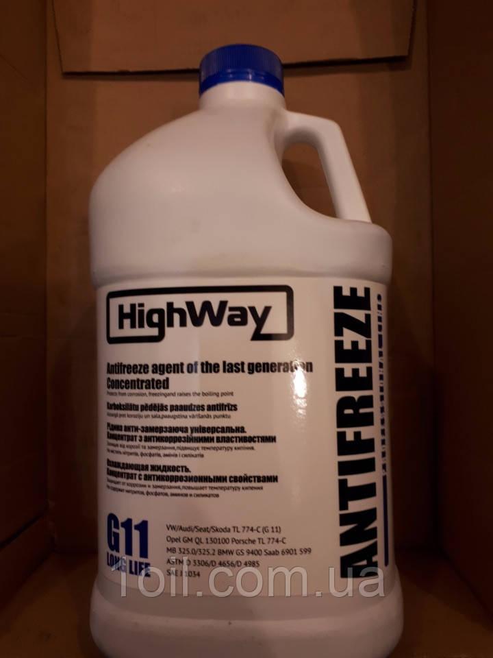 Охолоджуюча рідина (концентрат-80 С) Highway G11 (синя) 3,78 л