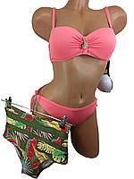 Купальник бандо с высокой талией и плавками на завязках Sisianna 91009 коралловый 42 44 46 48 50 размер