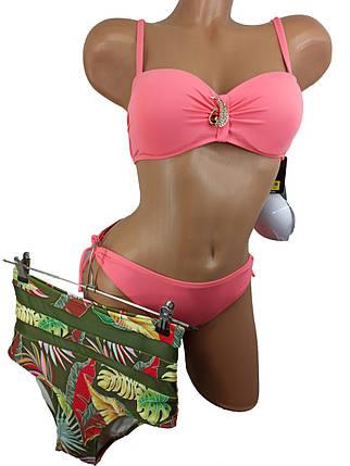 Купальник бандо с высокой талией и плавками на завязках Sisianna 91009 коралловый 42 44 46 48 50 размер, фото 2